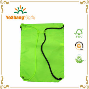 Fashion Flue Green 210d Polyester Drawstring Backpack pictures & photos