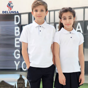 Bulk White Primary School Uniform Polo Shirt pictures & photos