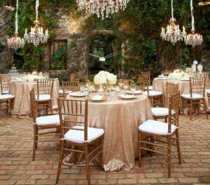 China 120 Round Matt Champagne Gold Tablecloth Beautiful Elegant Wedding Sequin Table Linens Cloth