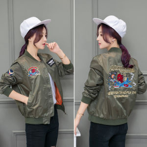 Women Bomber Jacket Ladies Girls Casual Army Green Bomber Jacket  Embroidery pictures & photos