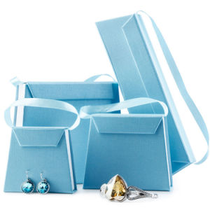 Blue Specialty Paper Jewelry Gift Box with Trapezoid for Receiving Bangle Ring