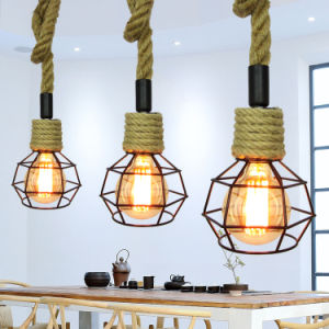 E27 Antique Hemp Rope American Style Designer Hanging Lights for Dining  Room, Lobby