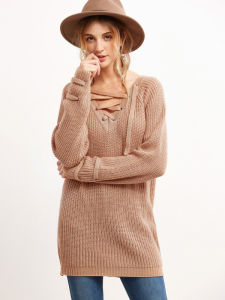 Wholesale Pink V Neck Eyelet Lace up Loose Sweaters