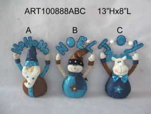Santa, Snowman and Moose Window Draft Decoration, 3 Asst pictures & photos