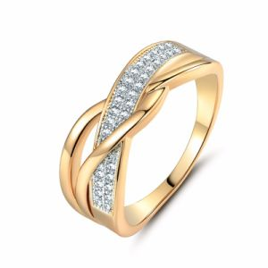 China Valentine Present Fashion Spiral Cz Crystal Gold Color Mid