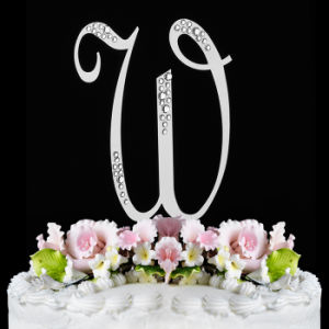 Crystal French Front Letter a to Z Monogram Partial Diamantee Wedding Cake Topper pictures & photos