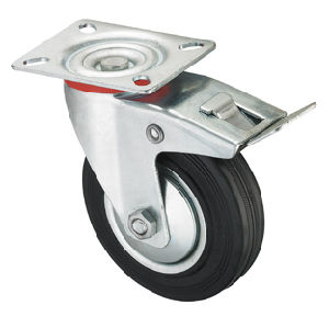 Middle Duty Series Caster - Swivel W/Brake - Black Industrial Rubber (roller bearing) pictures & photos