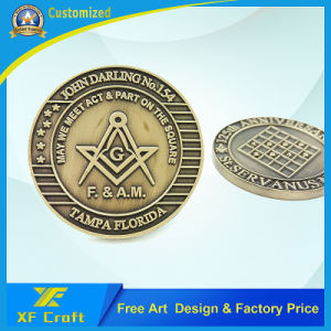 Professonal Customized Antique Brass Plated Zinc Alloy Die Casting Souvenir Coins with Any Logo (XF-CO09) pictures & photos