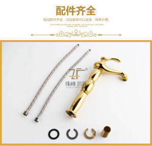 Single Handle Luxury Gold Brass Magic Lamp Basin Mixer (Zf-M28) pictures & photos
