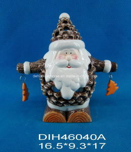 Funny Santa Ceramic Tealight Candle Holder pictures & photos