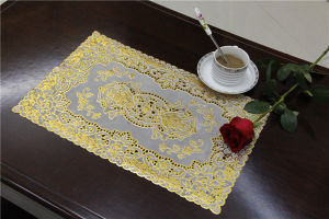 Size 30*46cm PVC Lace Gold Tablemat Waterproof Popular in Coffee/Home pictures & photos