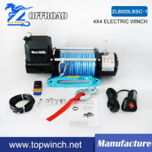 8000lbsc SUV Electric Synthetic Rope Winch with Hawse Fairlead, Wireless Remote Control Kit