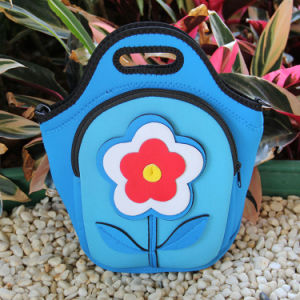 Beautiful BPA Free Neoprene Lunch Bag with Flower Pocket pictures & photos