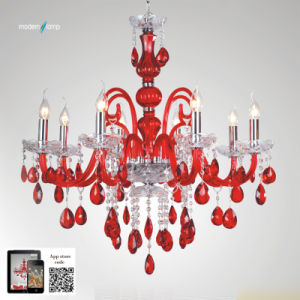 Red Glass Chandelier Light (P1557-8)