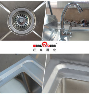 Factory Stainless Steel Sink Table with Undershelf and 3 Compartment pictures & photos