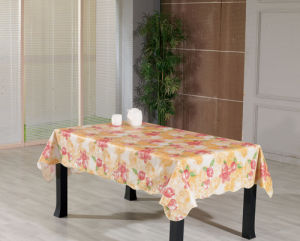 PVC Printed Tablecloth with Flannel Backing (TJ0080) pictures & photos