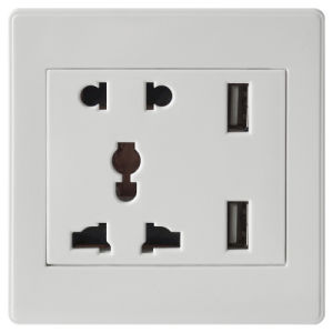 South Africa RoHS White Wall Socket with 5V/2.4A USB Charger