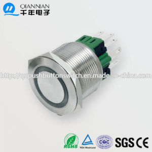 25mm 1no Nc/2no 2nc Resetable Self-Locking Flat Ring Illuminated IP67 Ik10 Push Button Switch pictures & photos
