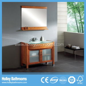 American Style Compact Classic Solid Wood Cambered Solid Wood Bathroom Cabinet (BV180W)