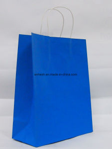 High Quality Christmas Design 120g White Kraft Paper Bag with Handle