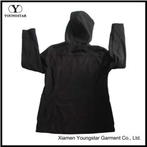 Ys-1072 Ladies Black Fleece Waterproof Breathable Softshell Jacket with Hood Women′s pictures & photos
