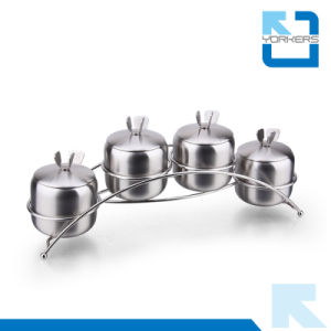4 Pieces Stainless Steel Spice Sugar Salt Pepper Seasoning Food Container pictures & photos