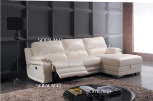 White Color Recliner Seat and Chaise Lounge with Storage Leather Corner Sofa