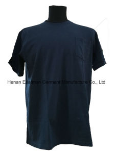 Men′s Navy 100% Cotton Short Sleeve T-Shirt pictures & photos