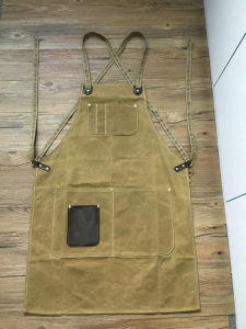 Heavy Duty Custom Waxed Canvas Work Apron with Criss-Back Straps
