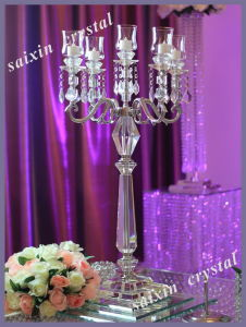 Wedding Centerpieces 5 Arms Silver Crystal Candlestick