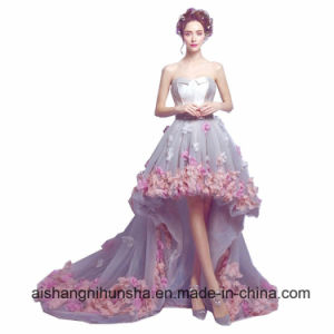 China Flowers Short Front Long Back Evening Gown Organza Prom Dress ...