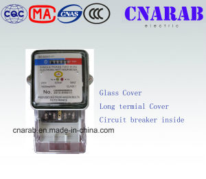 Single Phase Static Meter with Glass Cover and Long Terminal Cover (Circuit breaker insider)