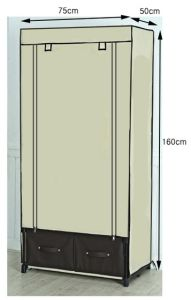 Directly Closet Metal Wardrobe With Fabric Cover Long Service  Multi Function Non Woven Drawer