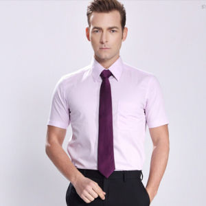 Men′s Slim White Plain Short Sleeve Cotton Business Shirt pictures & photos