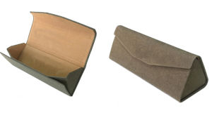 Handmade Triangle Folding Reading Glasses Case with Brown Paper