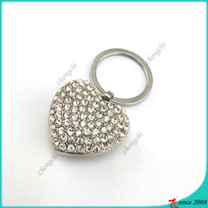 Large Full Clear Crystal Heart Metal Keychain (KR16040962)