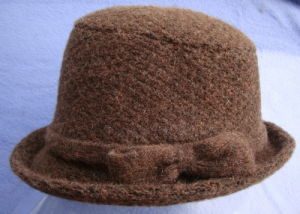 6e87f418dff China Fashion jacquard Knitted Wool Hat with Bow Bucket Hat Brown ...