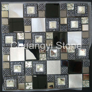 Metal Mixed Glass and Marble Modern House Design Decorative Wall Tile Mosaic