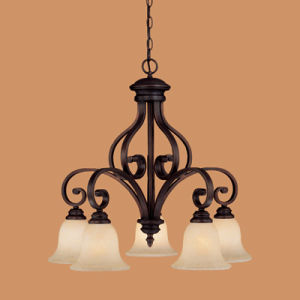 Hot Sale Iron Chandelier with Glass Shade (1215RBZ)