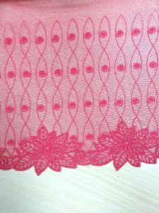 Big Lace Fabric Sexy Pink Tulle Lace Fabric Gauze Embroidery Lace for Decoration for Garment Accessory