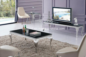 2016 Modern Stainless Steel Rectangle Tempered Glass Dining Table pictures & photos