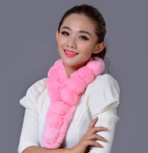Lady Fashion Real Rex Rabbit Fur Winter Scarf (YKY4362) pictures & photos