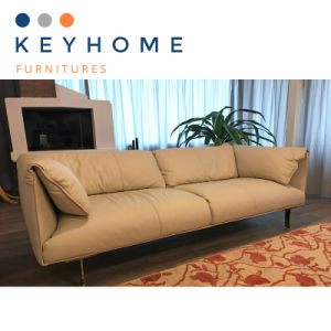 Italian Genuine Leather Sofa with Feather Padding