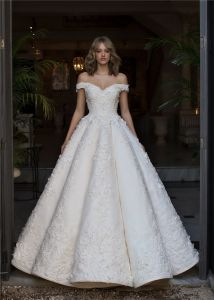 China off Shoulder Ball Gowns Lace Beaded Puffy Custom Bridal ...