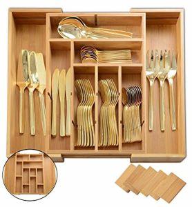 Cutlery Silverware Flatware Expandable Bamboo Kitchen Drawer Organizer  Cutlery Tray