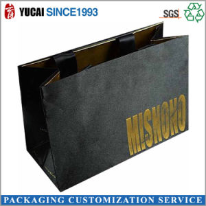 Customized Black Paper Shopping Bag with Logo pictures & photos