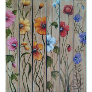 Popular Floral Wall Hanging Wood Art for Home Decoration (LH-113000)