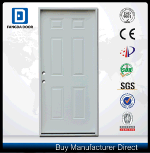 Classic Primed White 6 Panel American Steel Prehung Entry Door pictures & photos