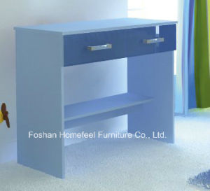 Blue High Gloss Simple Study Desk with 2 Drawers pictures & photos