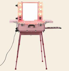 Mobile Trolley Cosmetic Pink Makeup Case With Lights Mirror Stands Legs Station Make Up Studio